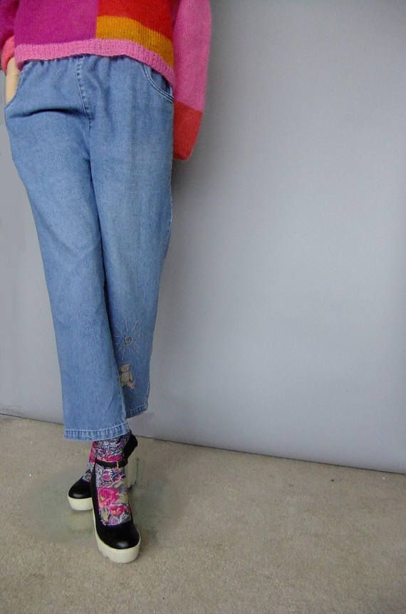 elastic waist denim jeans mom jeans cute detail embellished