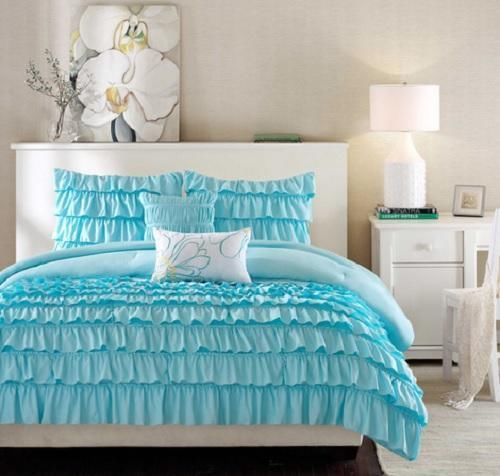 Twin twin xl girls teen blue romantic ruffled ruffles Blue teenage bedroom