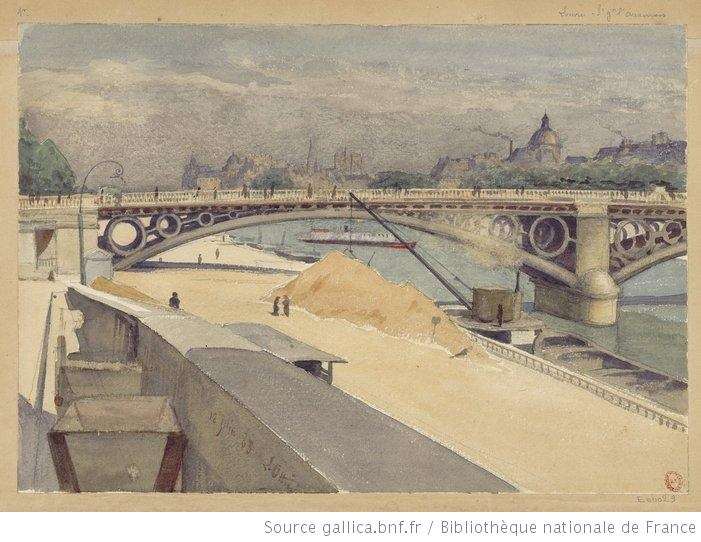 [Sablière Port du Louvre, en arrière plan le Pont des Saints-Pères, lInstitut et la Cité] : [St Germain lAuxerrois, Louvre] : [dessin] / L. Ottin - 1