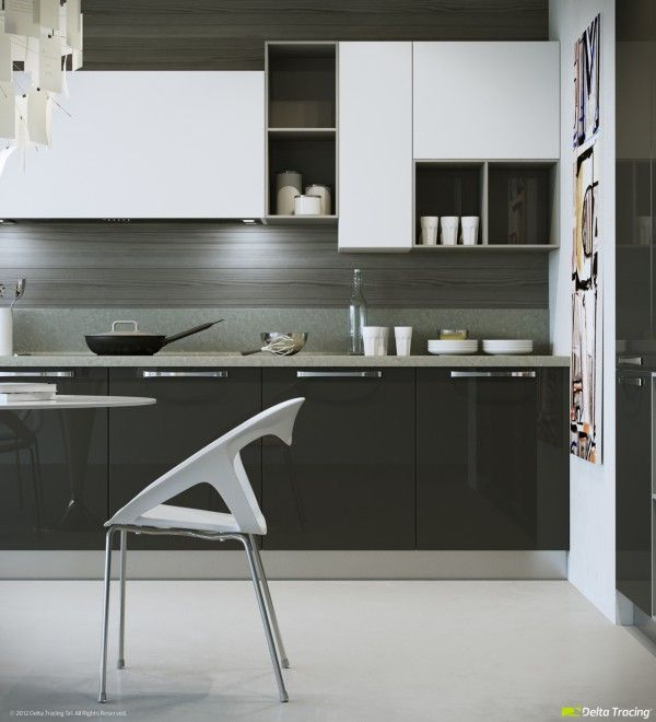 contemporary kitchen with black base and white upper cabinets & gray backsplash -unique shelving concept -focal point pendant -53 kitchen shelving