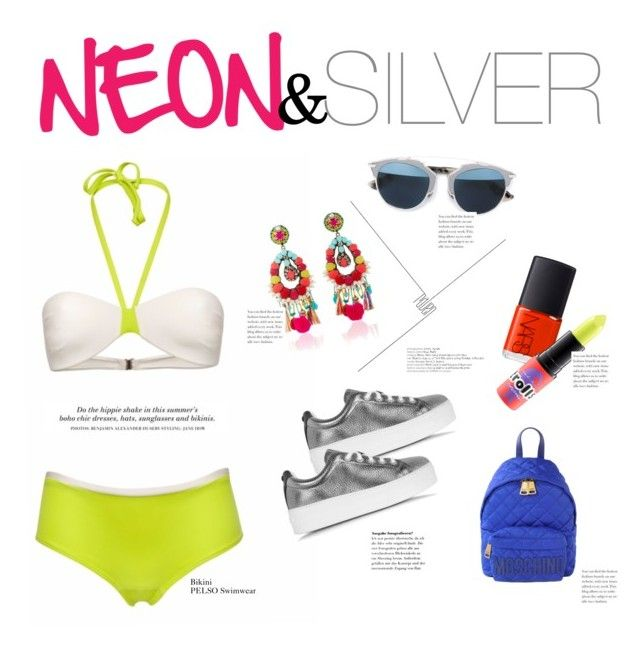 """""""PELSO // Neon & Silver"""" by pelso on Polyvore featuring Ranjana Khan, Kenzo, Moschino, NARS Cosmetics, Christian Dior, MAC Cosmetics and H&M"""