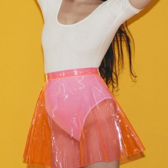 American Apparel Clear Vinyl Skirt in Pink Really cute vinyl skirt perfect for swimsuit coverup or over a really cute bodysuit! Perfect for spring break and summer American Apparel Skirts