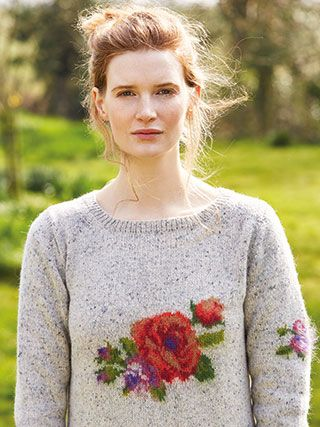 ROSIE from Springtime Collection Six by Marie Wallin 8 handknit designs for women by Marie Wallin. A beautiful trans-seasonal collection of quintessential feminine knitwear featuring floral intarsias, fairisles, subtle lace and twisted stitch textures. Mainly using Rowan Felted Tweed, this collection is the ideal solution to the problem of what to wear on a sunny spring day when it's still chilly outside | English Yarns http://englishyarns.co.uk/rowan-marie-wallin-springtime.html