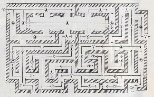 """Map of the sub-section of The Shining's Hedge Maze that was built for the film. It was first built as an exterior set on the MGM Elstree Studios back lot, and consisted of pine boughs stapled to a plywood frame. The maze set was later rebuilt inside a sound stage at EMI Elstree Studios, with two feet of dairy salt on the floor and styrofoam """"snow"""" crusted to the walls."""