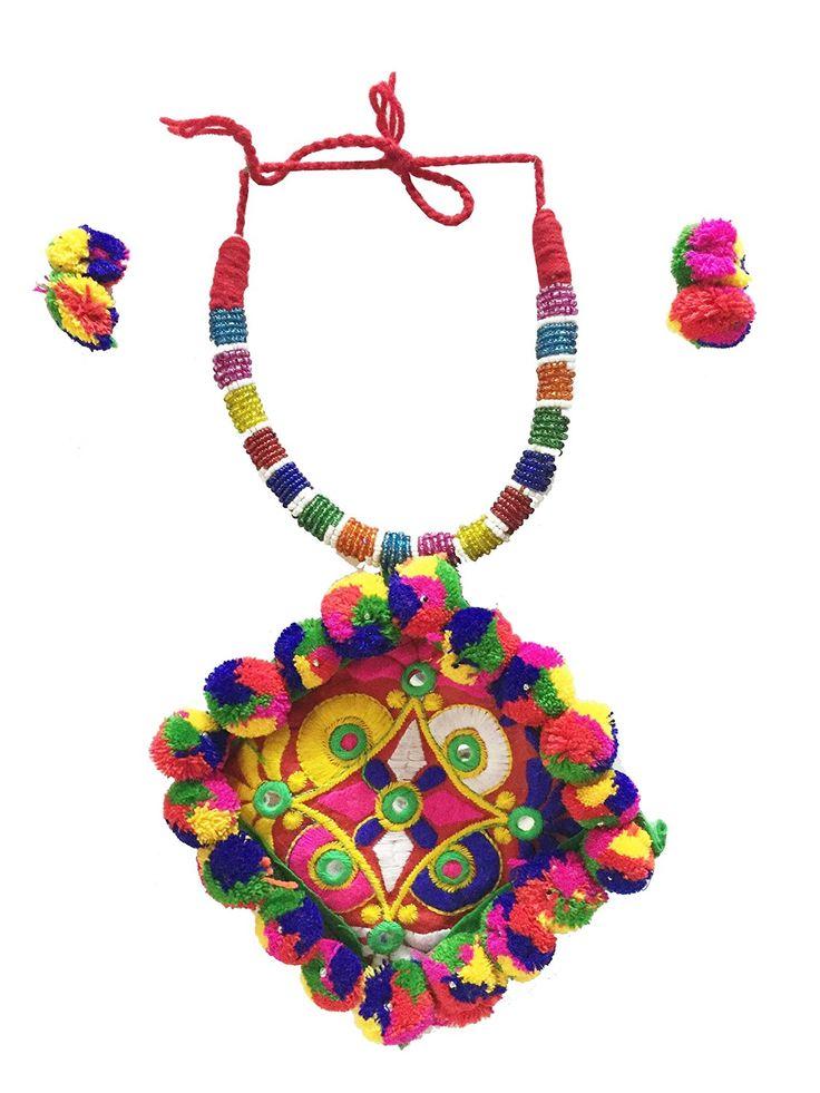 NNITS Garba Navratri Dandiya Bandhani  Necklace Set #NecklaceSet