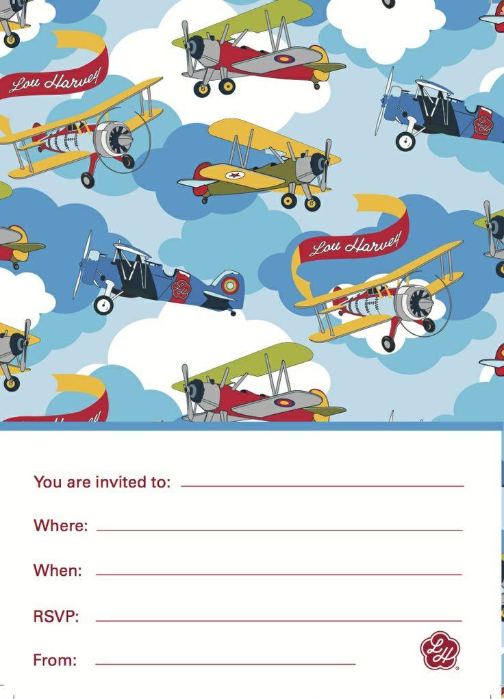 Aeroplane aviator boys party invitation