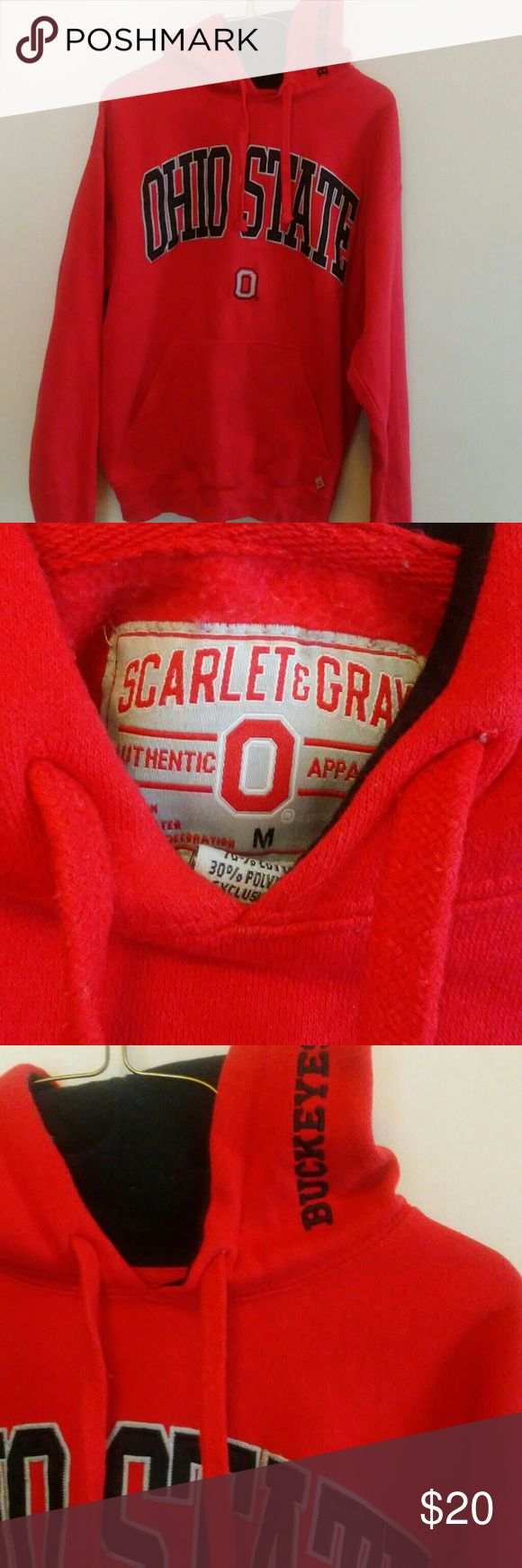 💥OHIO STATE HOODIE💥 Excellent condition..scarlet and grey apparel..has buckeyes on hood posted in pic scarlet and grey Other
