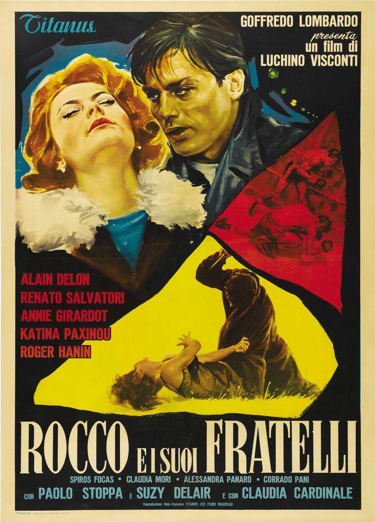 """""""Rocco e i suoi fratelli"""" (1960). Country: Italy. Director: Luchino Visconti. Cast: Alain Delon, Renato Salvatori, Annie Girardot, Katina Paxinau, Claudia Cardinale"""