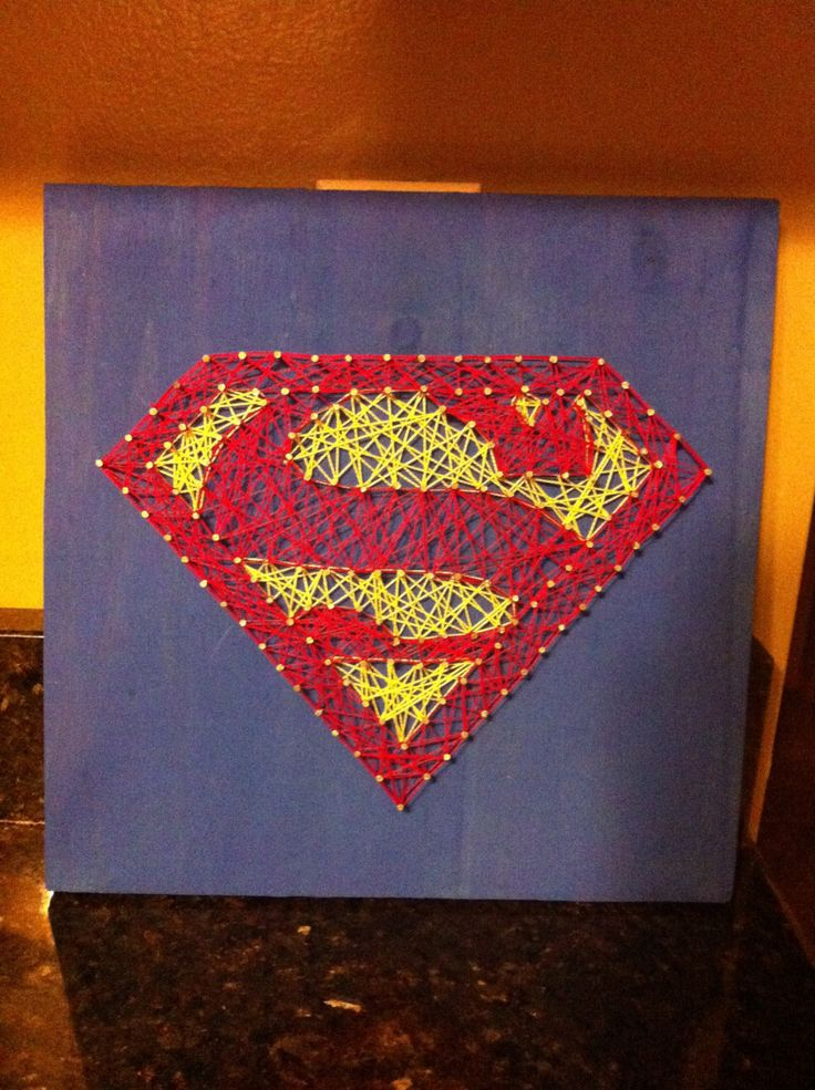 Man Cave String Art : Superman string art wall decor kids room or man cave