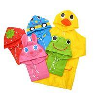 Venta al por mayor envío de la gota 2015 NUEVO FIT 90-130cm Cartoon Impermeables para niños para niños ropa impermeable y Azul, Verde, Rosa, Rojo, Amarillo