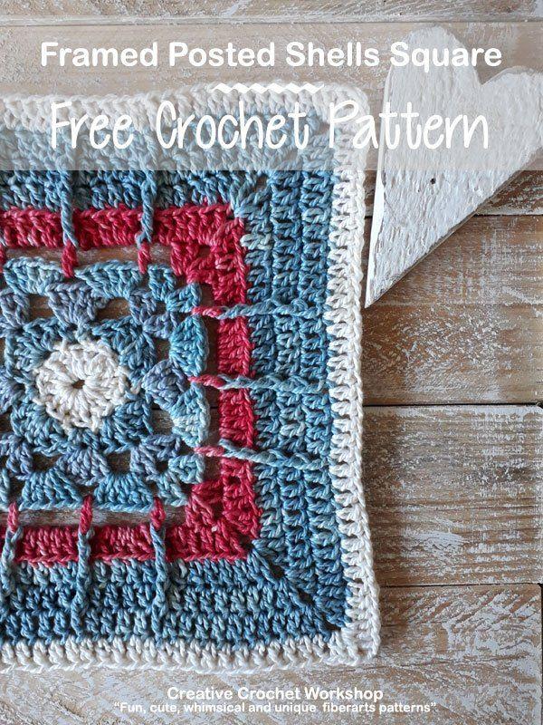 FRAMED POSTED SHELLS SQUARE | 2019 Crochet Alongs | Crochet
