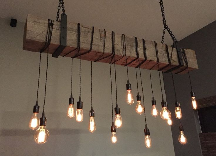Reclaimed barn beam light fixture. 6' long beam, 14 wrapped LED Edison bulbs.  Rustic modern industrial by 7MWoodworking by Paul Miller on Etsy