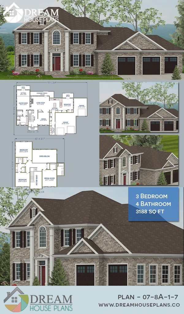 Dream House Plans Simple Yet Luxury Colonial 3 Bedroom 3188 Sq Ft House Plan With Basement Open Floor Southern House Plans Dream House Plans House Plans