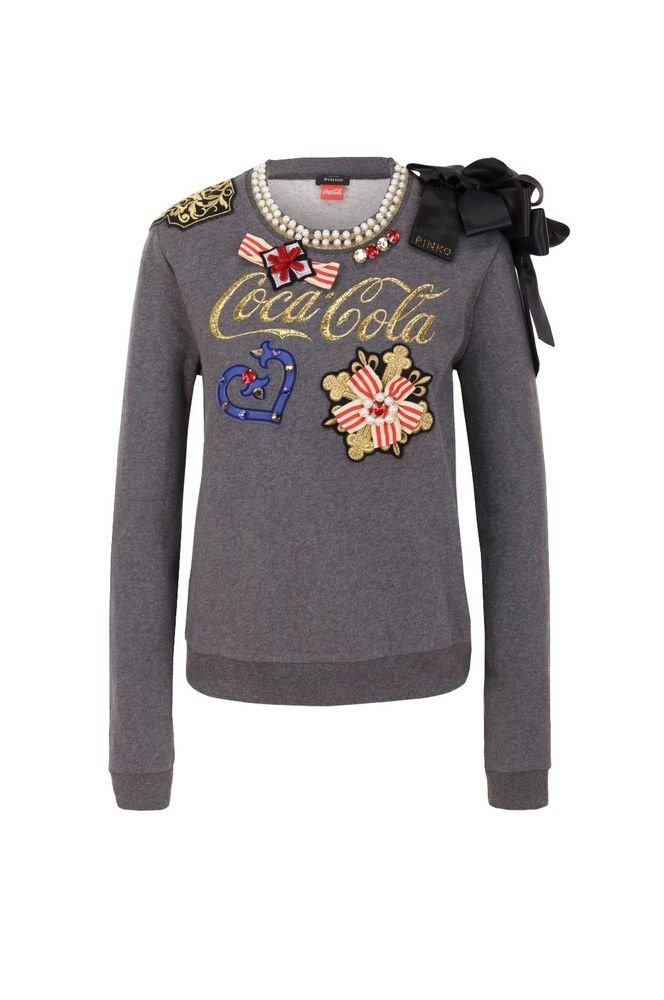 Pinko x Coca Cola Women Sweatshirt Grey Sweater  b2d159a3da8