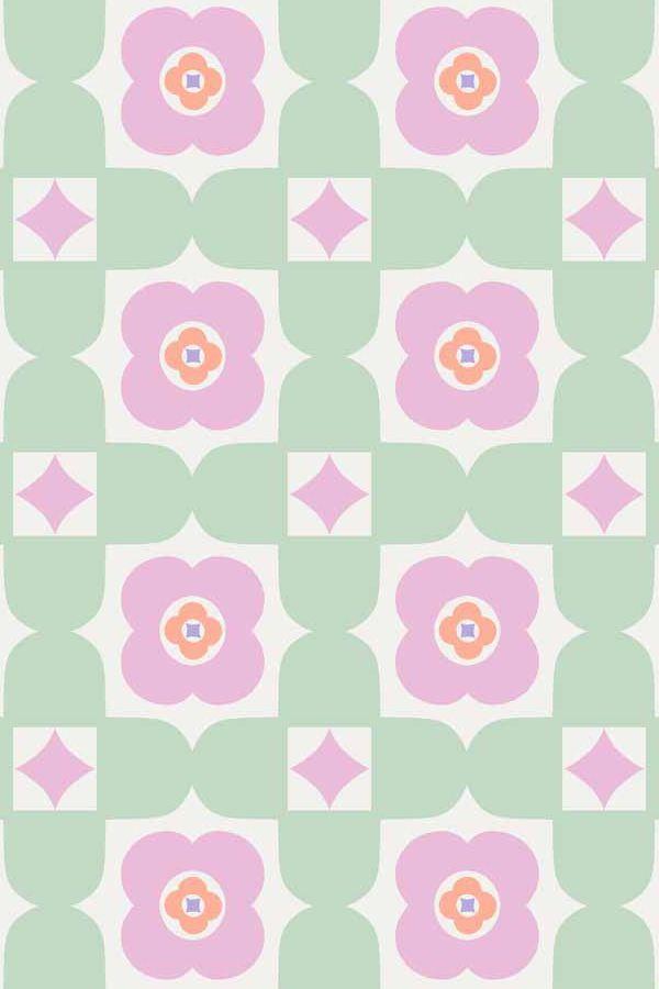 Retro Floral 10m L x 53cm W Roll Wallpaper
