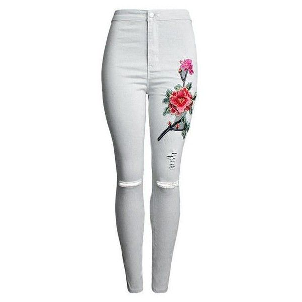 Red Rose Embroidery Ripped Jeans Black or Light Grey ($39) ❤ liked on Polyvore featuring jeans, embroidered jeans, red skinny jeans, destroyed jeans, distressed jeans and destructed skinny jeans
