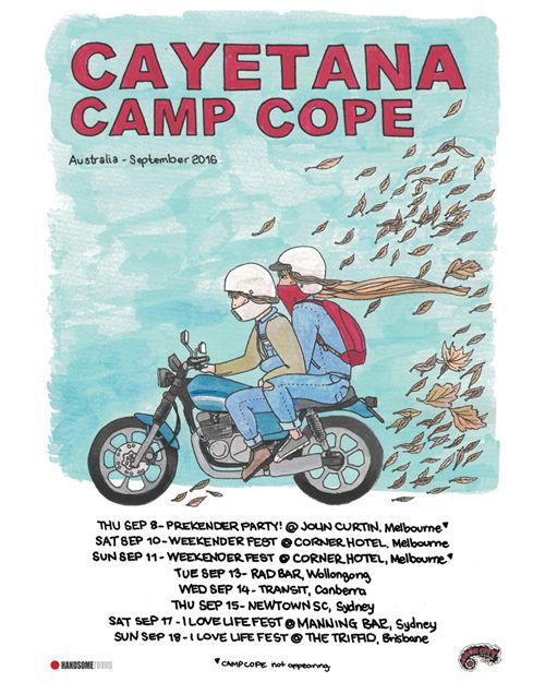 In line with this year's WEEKENDER FEST (Melbourne) & I LOVE LIFE fest shows (SYD & BRIS), Philadelphia's CAYETANA are teaming up with CAMP COPE for a run of extra dates along the East Coast. Tix on sale tomorrow! Hit Camp Cope FB page for info.