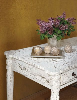 crackle painted dining room table   Here are some instructions on how to do this 'do-it-yourself ...