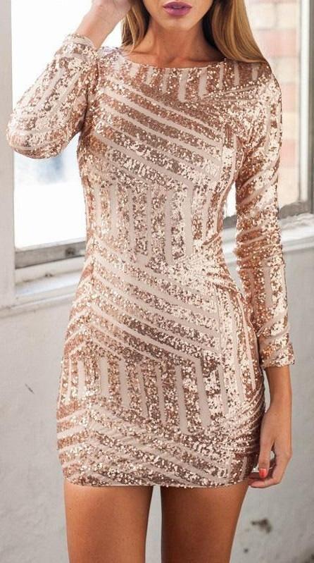 Rose Champagne Sequin Open Back Long Sleeve Dress 2