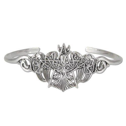 """Sterling Silver Crescent Raven Pentacle Bracelet Dryad Design. $119.99. Made of .925 Solid Sterling Silver. An original design by Paul Borda of Dryad Design. Measures 1""""h x 2""""w"""