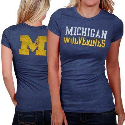 My U Michigan Wolverines Womens Literality Premium Slim Fit T-Shirt - Navy Blue