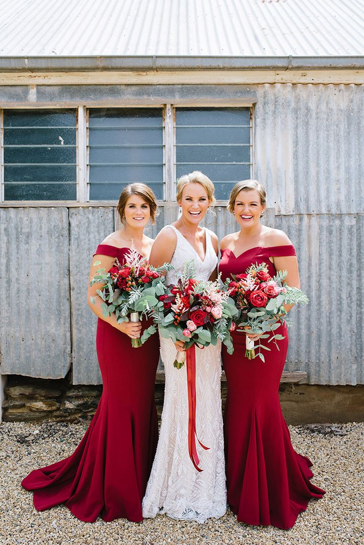 Best 25 red bridesmaid dresses ideas on pinterest red a vintage homestead wedding in ruby red off shoulder bridesmaid dresswedding ombrellifo Gallery