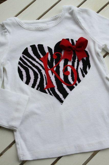 Valentine Shirt for Girls  zebra heart by DarlingLittleBowShop