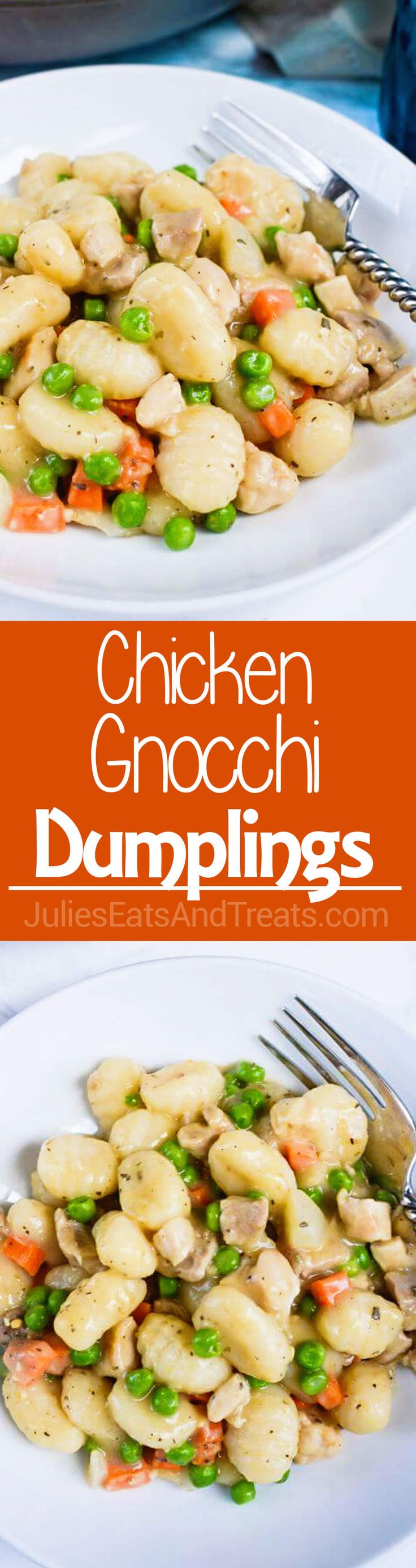 Chicken Gnocchi Dumplings ~ Perfect, Hearty Comfort Food! This Easy, Dinner is Ready in under 30 Minutes and is Loaded with Chicken, Peas, Carrots and More! via @julieseats