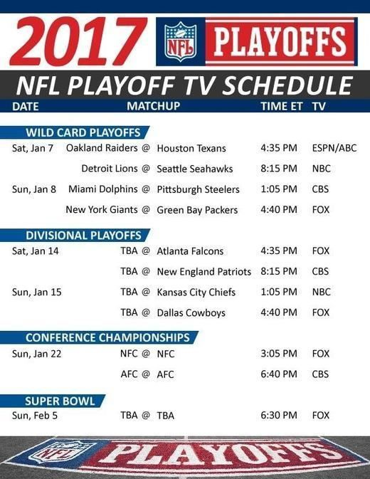 2016-17 NFL playoffs schedule, Super Bowl LI, playoffs2017 coverage  http://nflplayoffs2017.org