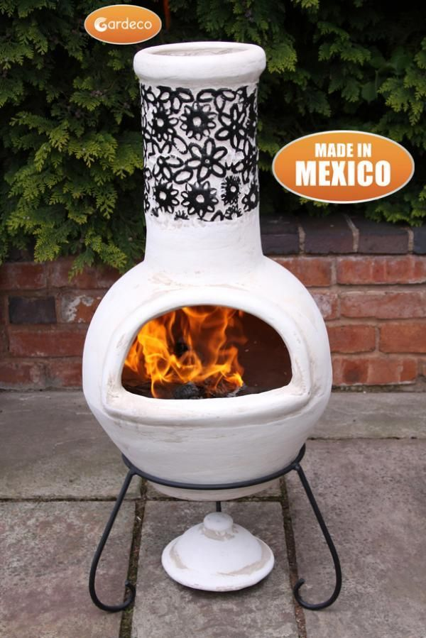 Gardeco Large Flor Mexican Chiminea In Black Beige Heartwarming Fires Fire Pit Patio Chiminea Clay Chiminea