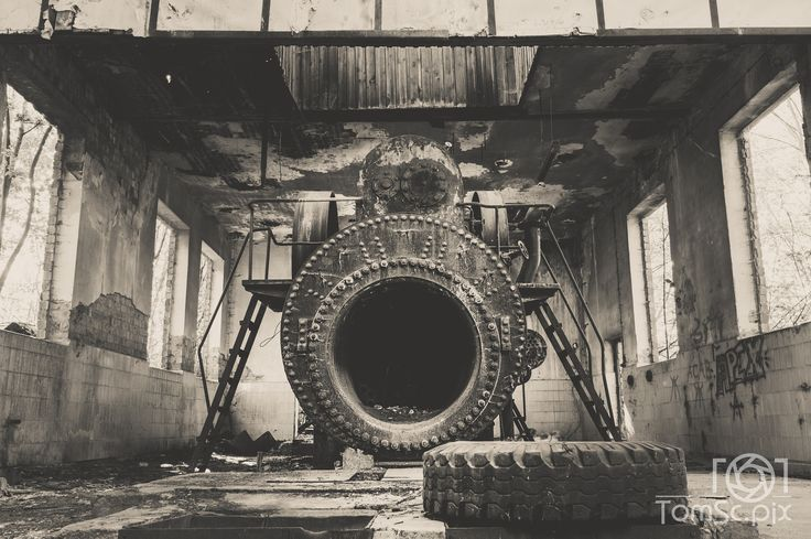 steam engine - ancient steam engine in an abandoned area