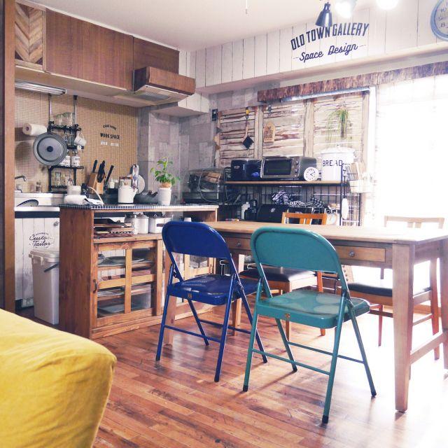 ramcoさんの、キッチン,照明,椅子,journal standard Furniture,niko and…,クッションフロア,リフォライフ,壁紙DIY,ダイニングテーブル,ダイニング,楽天で買ったもの,のお部屋写真