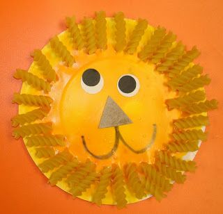 Mrs. Karen's Preschool Ideas... cute craft; I might be able to use this idea for Daniel & the Lion's Den for my 3 year old Sunday School class. #Paper plate craft for kids #Noodles