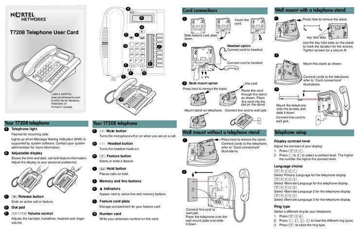 Nortel Networks T7208 Telephone User Card user manual Pinterest - instructional manual