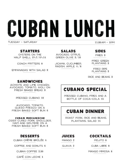 I like the serif font that is used for this menu. It is elegant and the black color works well with the white of the background. The multiple column layout makes everything easy to read.