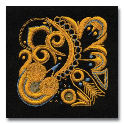 Broderie Bigoudène. - Broderie des costumes homme et femme de la région de Pont-L'Abbé, à l'origine très colorée et fine, elle devient au fur et à mesure monochrome et exubérante dans les années 1920-1930. (Ecole de Broderie d'Art Pascal Jaouen)