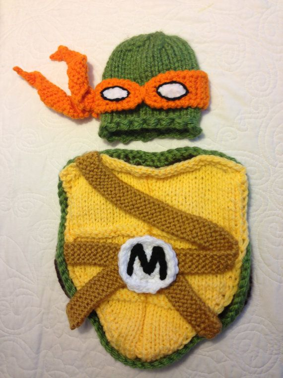 Halloween Ninja Turtle outfit - hat and cocoon, perfect newborn photo prop and Halloween costume
