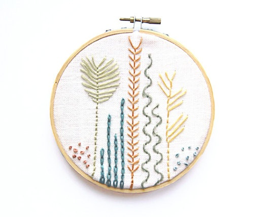 Embroidery Sea Botanicals Hoop Art  5 Inch Modern by IslaysTerrace, $30.00