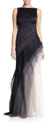 Halston Heritage Satin and Organza Tiered Degrade Gown