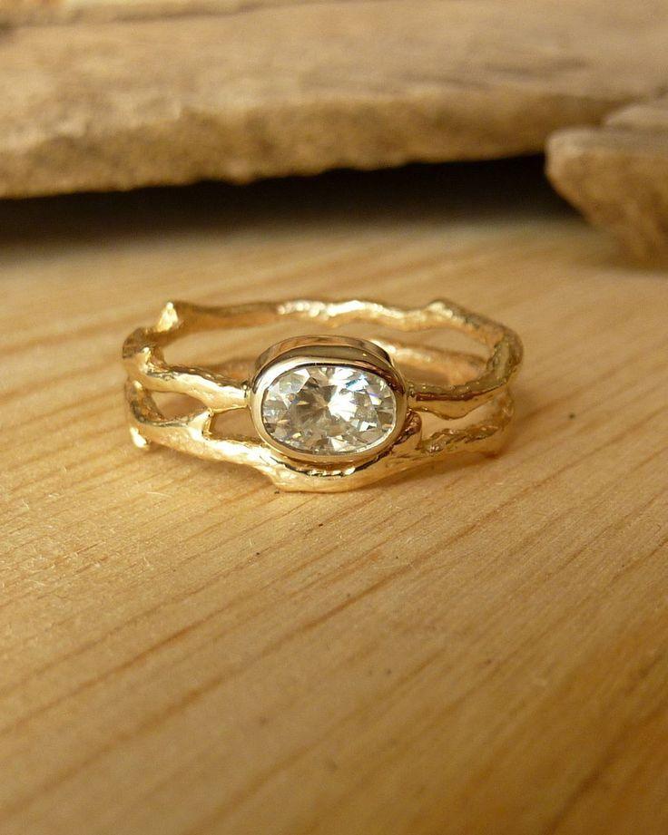 Kate Szabone Jewellery Inc. - Oval Moissanite Branch Wedding Ring Set, $1,295.00 (http://www.kateszabone.com/oval-moissanite-branch-wedding-ring-set/)