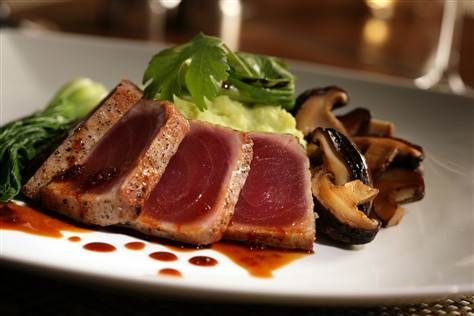Grilled Ahi Tuna with Wasabi Whipped Potatoes and Shiitake Mushrooms with Baby Bok Choy. #recipe