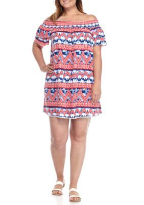 New Directions Weekend Women's Plus Size Printed Off The Shoulder Smock Dress - Red/Navy - 1X