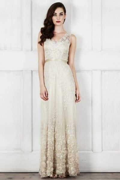 Sheath/Column Straps Floor-length Lace Fabric Champagne Wedding Dresses with Appliques Style yc115122208