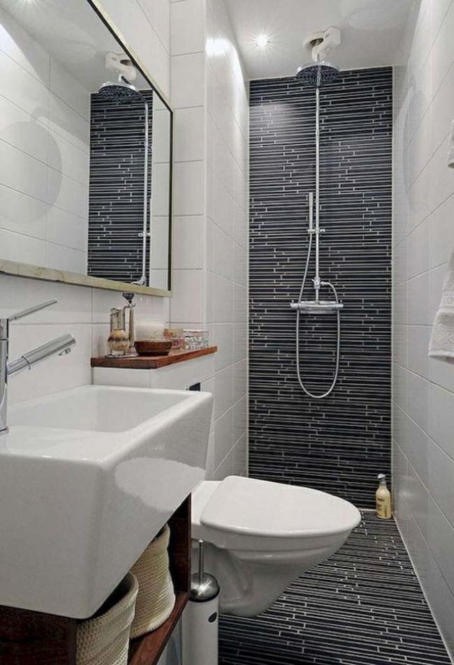 35 Simple Tiny Space Bathroom Inspirations On A Budget Small Narrow Bathroom Modern Small Bathrooms Modern Bathroom Remodel