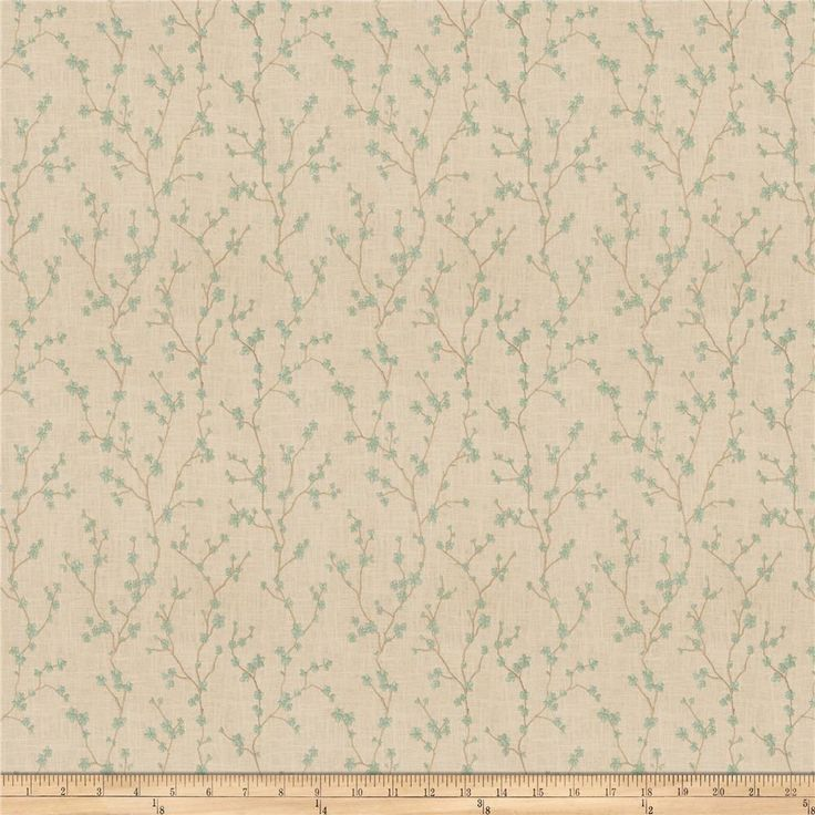 Vern Yip 03355 Linen Blend Aqua from @fabricdotcom  This embroidered poly/linen blend fabric is heavyweight and perfect for window treatments, bedding such as duvet covers, pillow shams, accent pillows and more. This fabric features a floral rayon embroidered design.