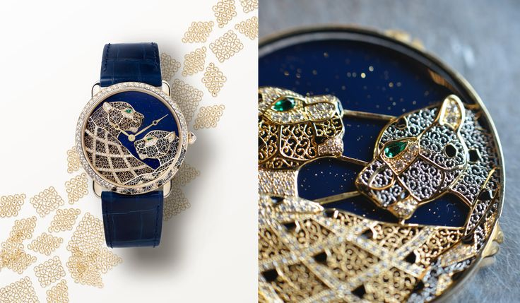 Intricate and innovative. An exquisite timepiece that combines filigree technique, lacquer work, and gem-setting.