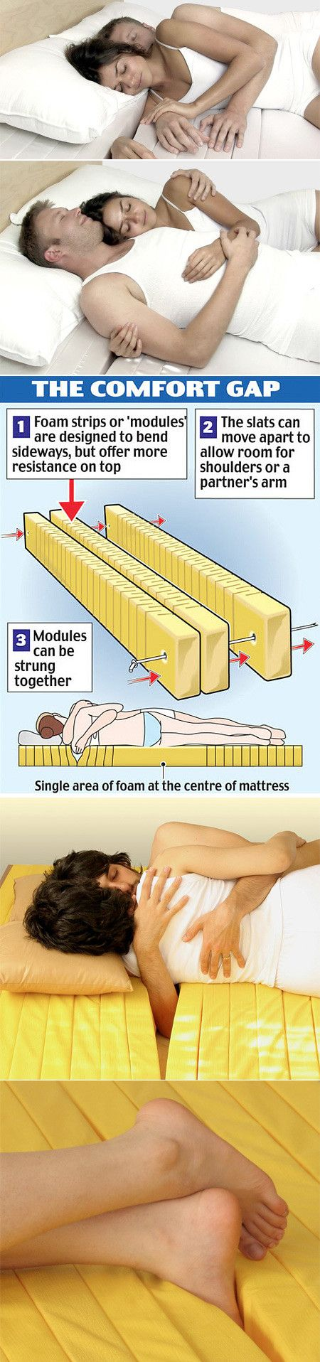 The Cuddle Mattress could strengthen relationships, says its designer, by letting partners remain cuddled together. The three-inch wide slats part easily from one another, leaving room to slide an arm beneath a partner and leave it there.