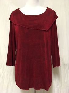 COLDWATER CREEK Tunic Top XL Slinky Textured 3/4 Sleeves Shirt Blouse   | eBay