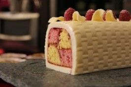 Raspberry and lemon white chocolate battenburg cake