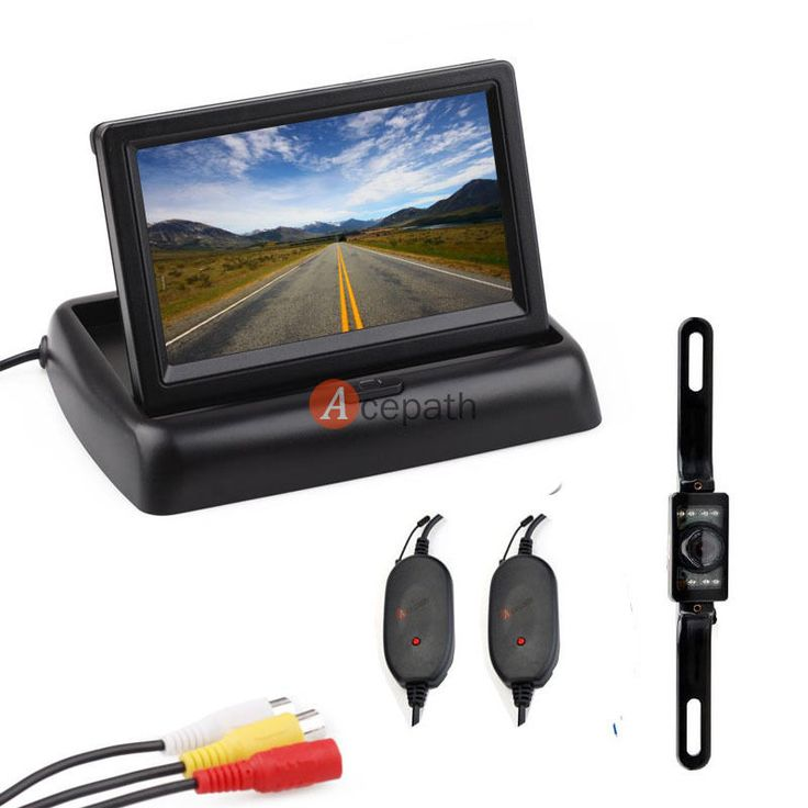 "2.4G Wireless Car 4.3"" Foldable TFT LCD Monitor Backup Camera Kit IR Night Vison #UnbrandedGeneric"